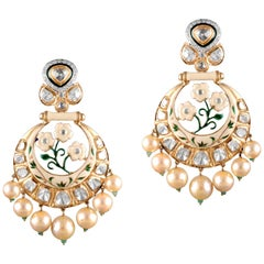 18 Karat Gold, Uncut Diamond, Emerald and Pearl Chandelier Earrings