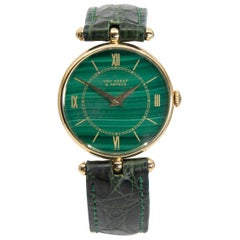 18k Gold Van Cleef & Arpels 17 Jewel Stem Wind Wristwatch with Malachite Dial