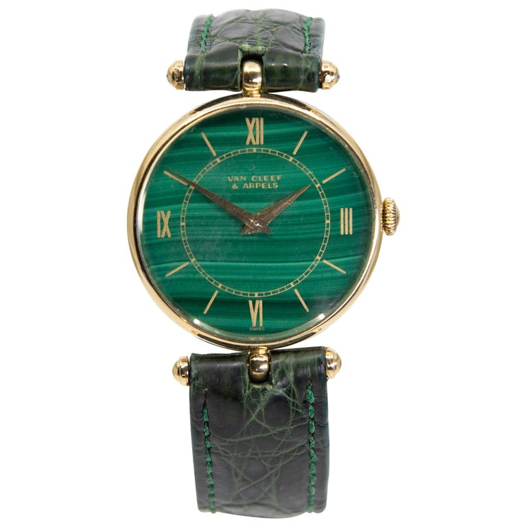 18k Gold Van Cleef & Arpels 17 Jewel Stem Wind Wristwatch with Malachite Dial For Sale