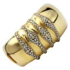 18k Gold Vintage Wide Diamond Bracelet