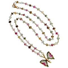 18K Gold Watermelon Tourmaline Butterfly Pendant Tourmaline Beaded Chain Necklac