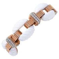 18K Gold, White Agate and White Diamond Bracelet