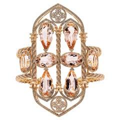18K Gold, White and Brown Diamonds, Morganites, Bangle