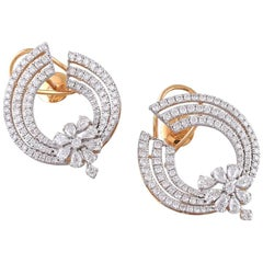 18 Karat Gold White Diamond Hoop Earrings