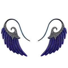 18K Gold Wing Earrings e-coated in blue with Lapis Lazuli and White Diamonds