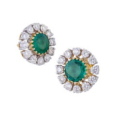 4.96 Carat Zambian Emerald Diamond 18k Gold Stud Earrings