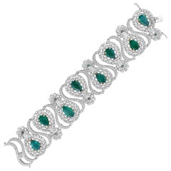 18k Gold Zambian Emerald Diamond Bracelet