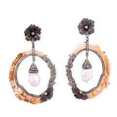 18 Karat Hand Carved Cameo Shell Pearl Diamond Earrings