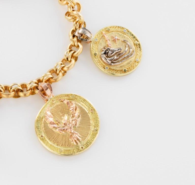 Women's or Men's 18 Karat Handmade Link Chain Charm Set Bracelet For Sale