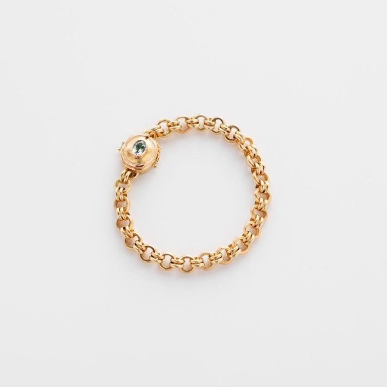 18 Karat Handmade Link Chain Charm Set Bracelet For Sale 2