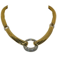 18K Italian Yellow Gold 3 Carat Diamond Collar Necklace