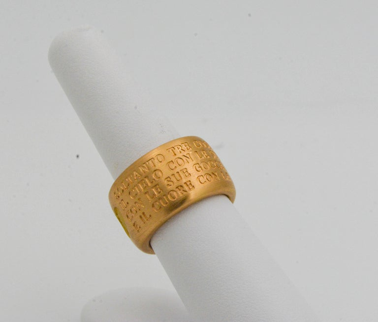 18 Karat Italian Yellow Gold French Quote with Heart Ring For Sale 6