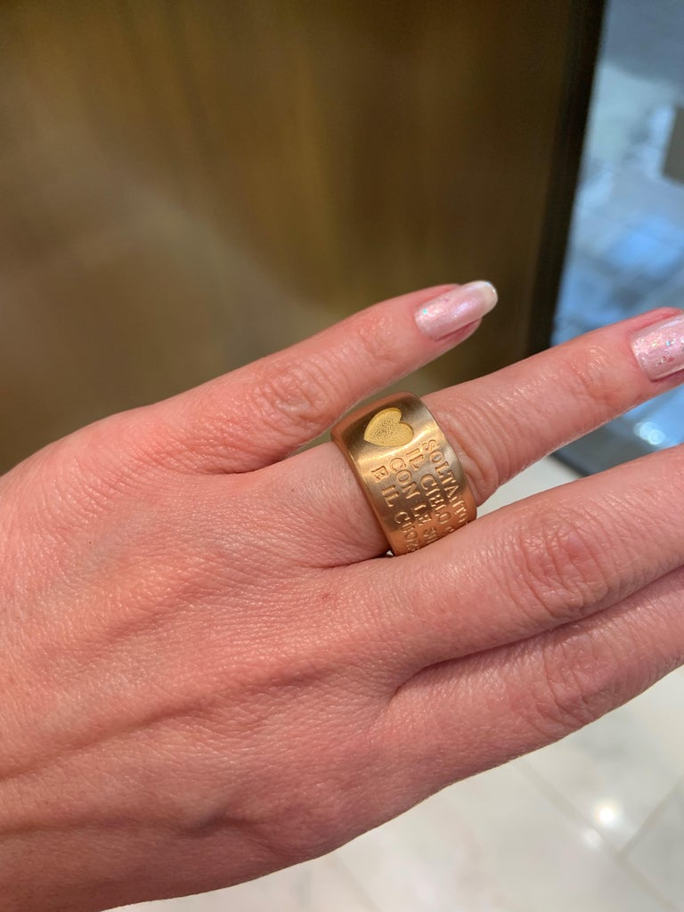 18 Karat Italian Yellow Gold French Quote with Heart Ring For Sale 7