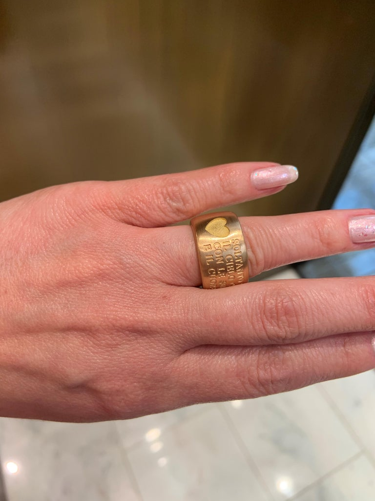 18 Karat Italian Yellow Gold French Quote with Heart Ring For Sale 8