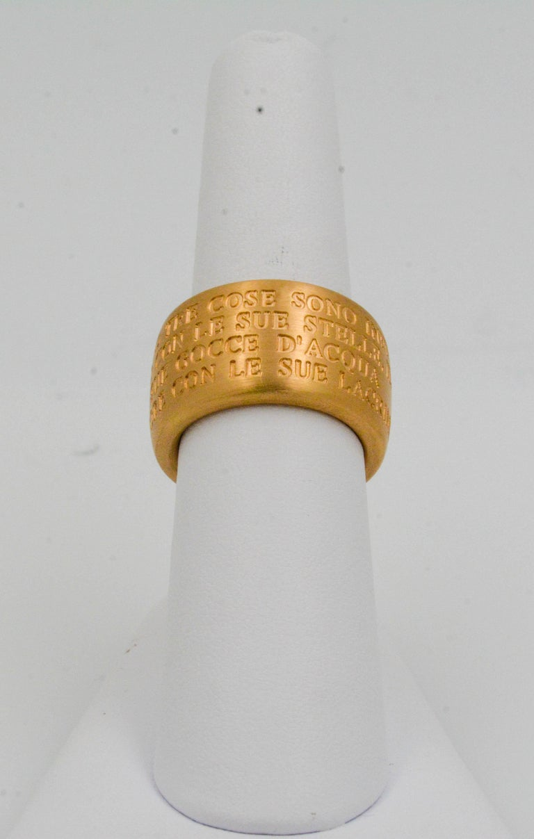 Women's 18 Karat Italian Yellow Gold French Quote with Heart Ring For Sale