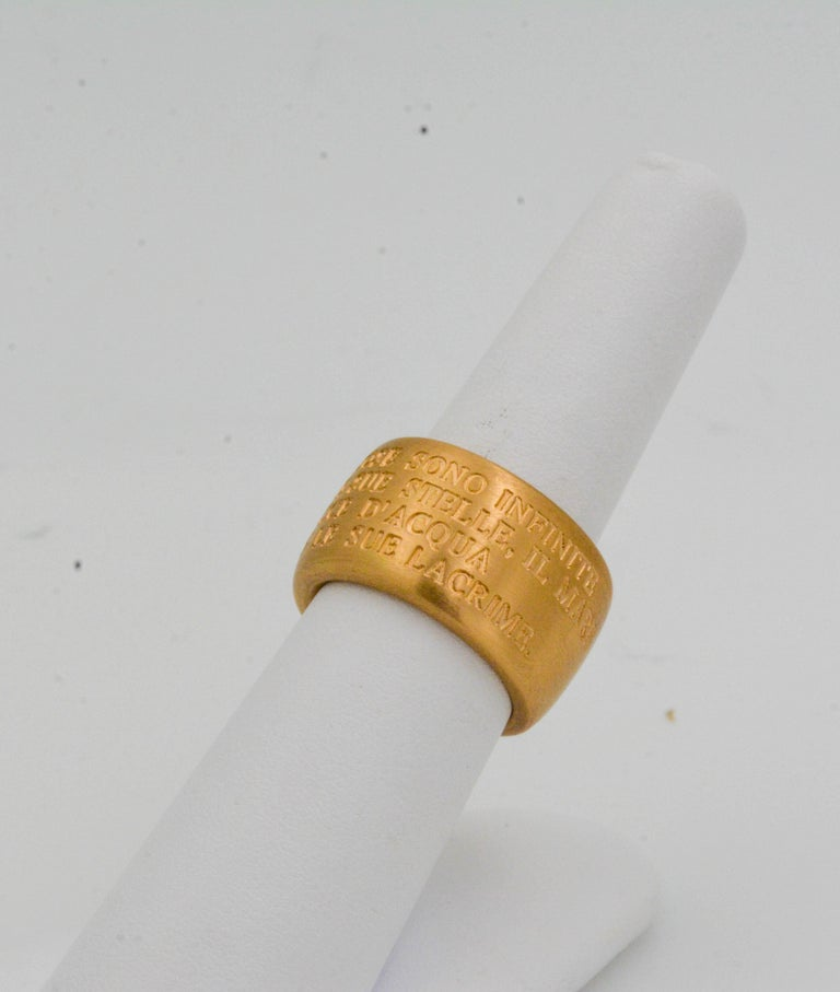 18 Karat Italian Yellow Gold French Quote with Heart Ring For Sale 2
