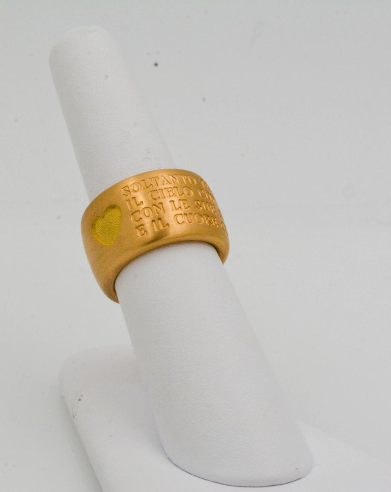 18 Karat Italian Yellow Gold French Quote with Heart Ring For Sale 3