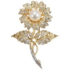 18K J.E. Caldwell Diamond Pearl Flower Pin Brooch Yellow Gold Cultured Pearl