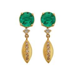 18k Karat Gold, Emerald & Diamond Dewdrop Earrings