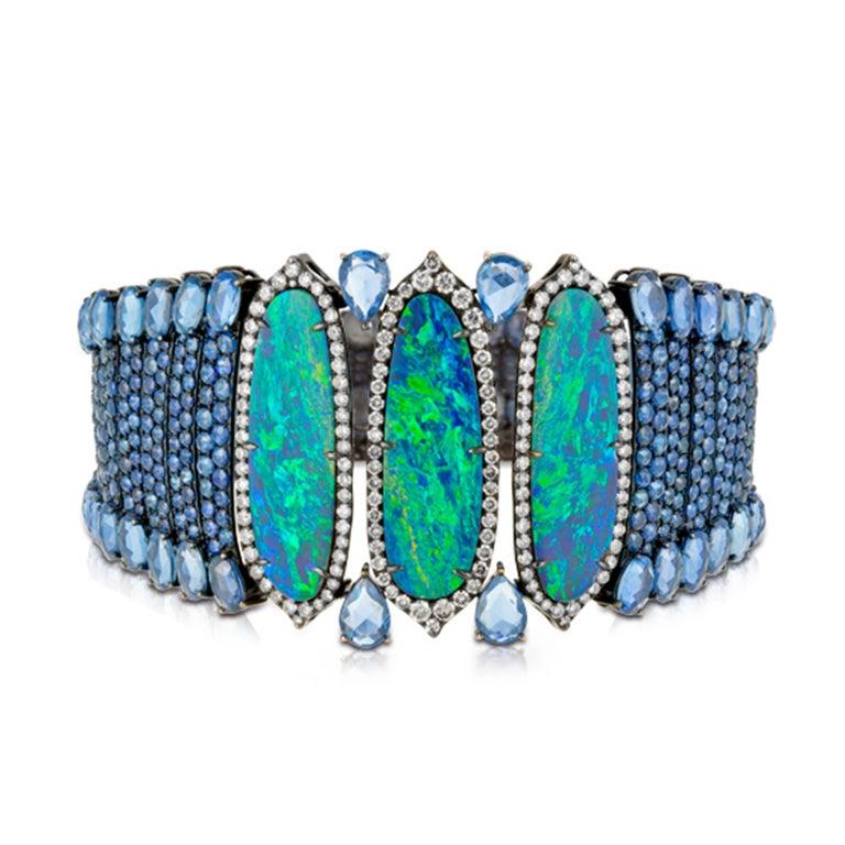 TGW 80K Opal, Diamond, Sapphire and White Gold bracelet.