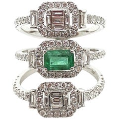 18K Karat White Gold Gilin Emerald and Diamond Ring in 18 Karat White Gold