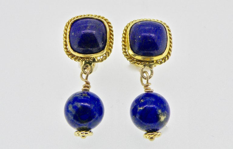 18 Karat Lapis Lazuli Drop Earrings In New Condition For Sale In Cohasset, MA