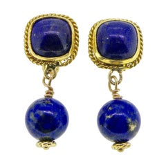 18 Karat Lapis Lazuli Drop Earrings