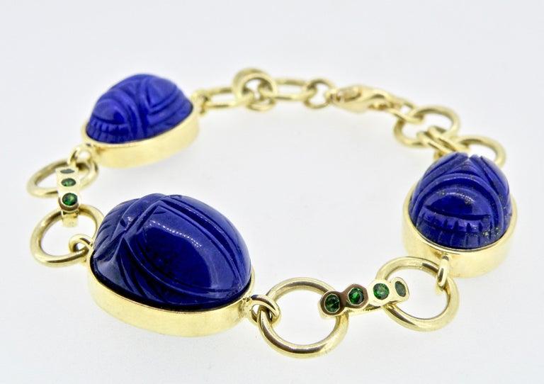 Contemporary 18 Karat Lapis Lazuli Scarab Link Bracelet For Sale