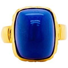 18k Lapis Ring, 18 Karat Gold, Bombe Ring, Vintage Point Ring, Lapis Lazuli Ring