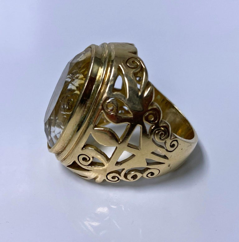 Oval Cut 18 Karat Large Citrine Ring, circa 1950 For Sale