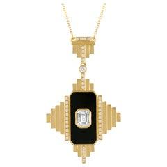 18K Gold Art Deco Style Necklace Black Onyx Invisible-Set Baguette Diamonds