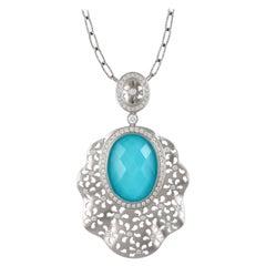 18K Matte White Gold Necklace w/Oval White Topaz, Arizona Turquoise, & Diamonds