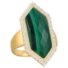 18K Matte Yellow Gold Hexagon Cocktail Fashion Ring with Malachite and Diamonds