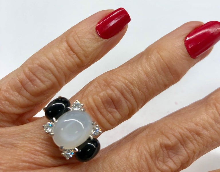 18 Karat Moonstone Onyx Diamond Ring For Sale 1