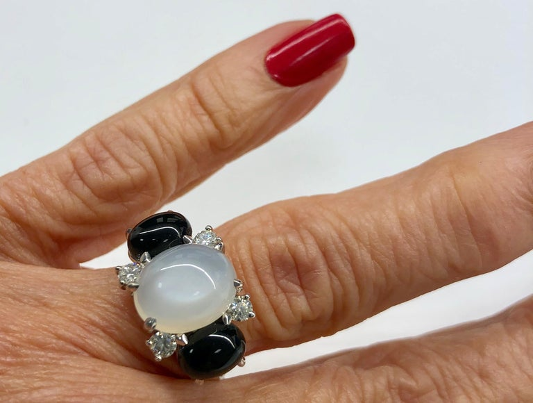 18 Karat Moonstone Onyx Diamond Ring For Sale 2