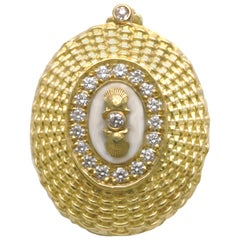 18K Nantucket Basket Weave Enhancer, Antique Ivory, Diamonds, Diana Kim England