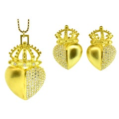 18k Necklace and Matching Earrings with Fine Diamonds in a Heart and Crown Motif