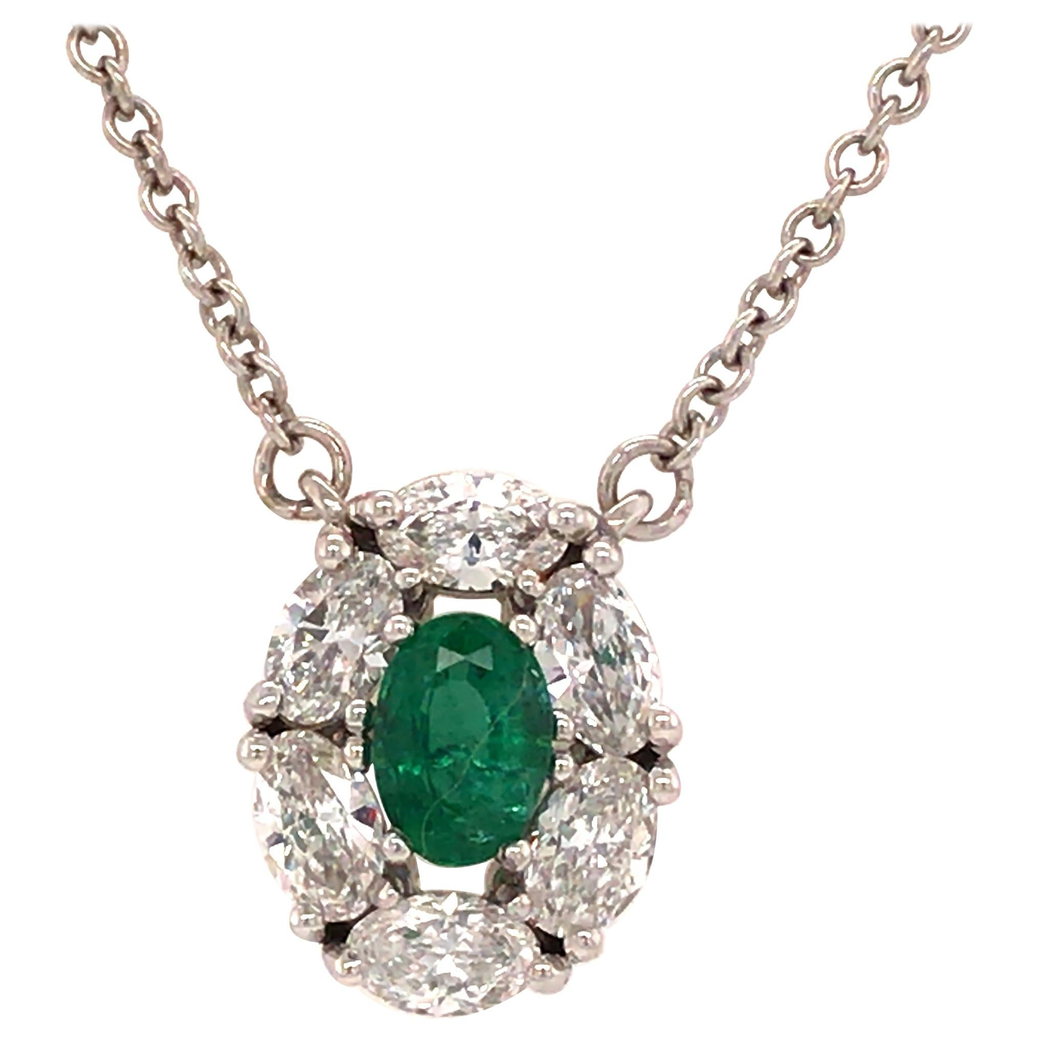 18K Oval Diamond and Emerald Pendant Diamond-by-the-Yard Necklace White Gold