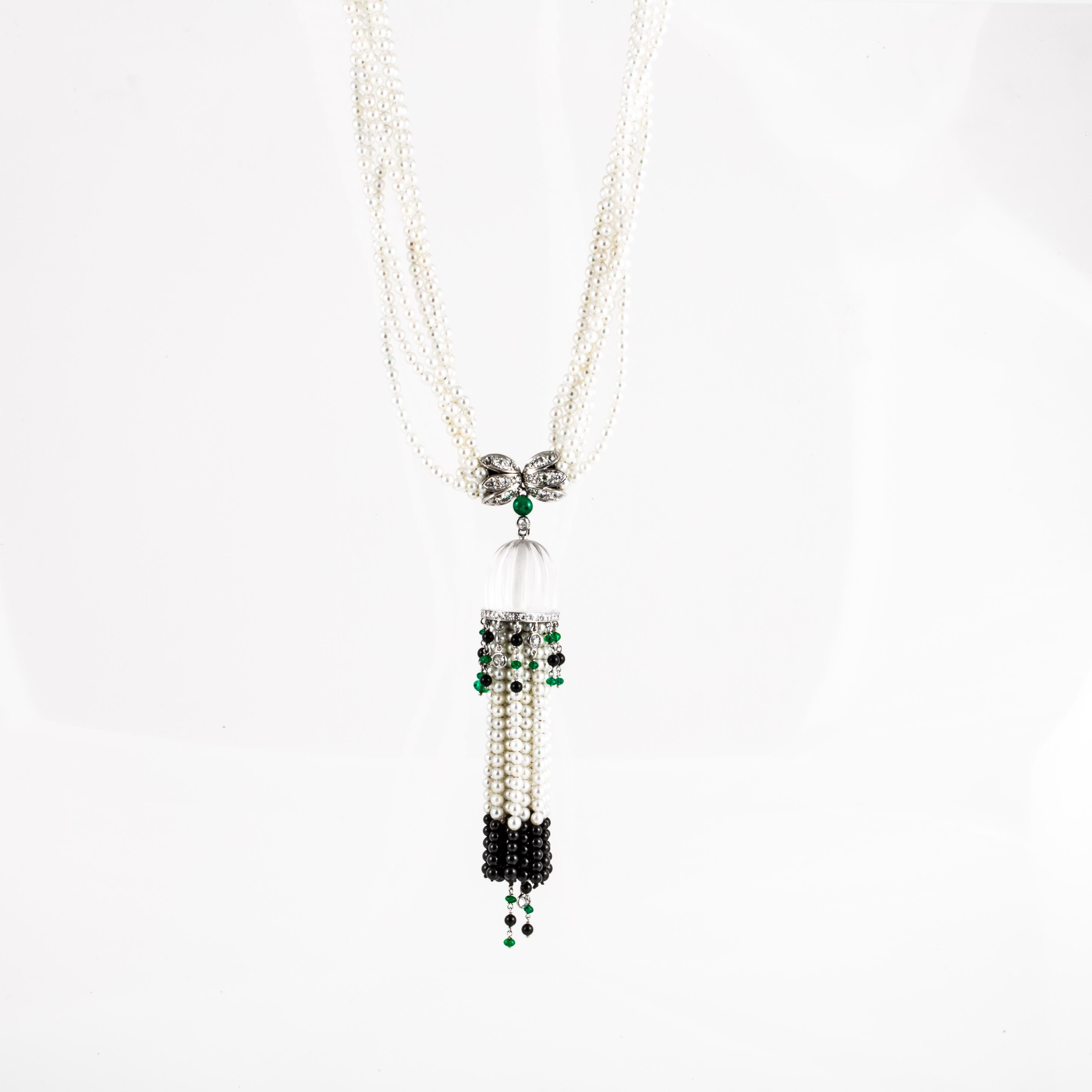 3826418d299d50 18 Karat Pearl Diamond Onyx Emerald Tassel Necklace For Sale at 1stdibs