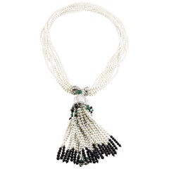 18 Karat Pearl Diamond Onyx Emerald Tassel Necklace