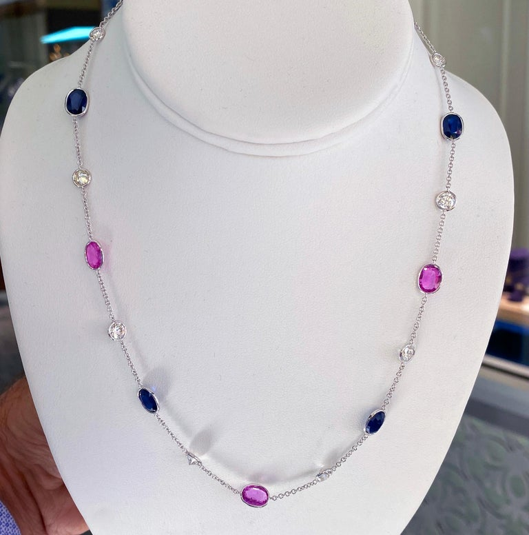 Oval Cut 18 Karat Pink and Blue Sapphire Necklace For Sale