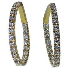 18 Karat Pink Gold and Diamond Hoops