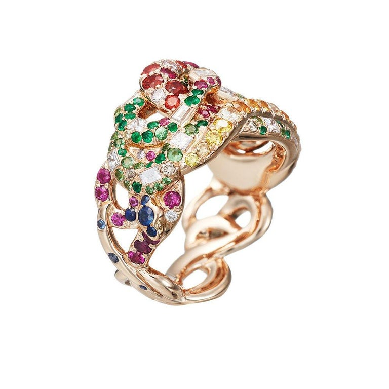 Women's 18k Pink Gold Chysoberyl Pink Sapphires White Diamonds Ring  For Sale