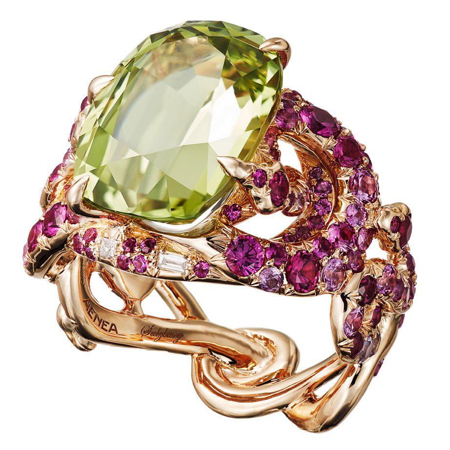 AENEA Sarpa 18k Pink Gold Chrysoberyl Pink Sapphires White Diamonds Ring