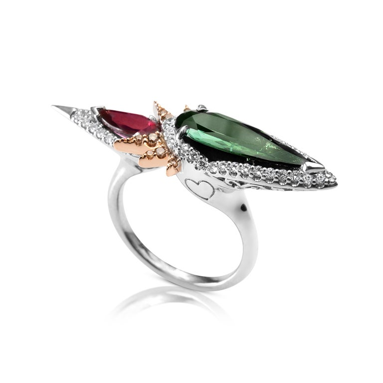 Pear Cut Harlin Jones Pink and Green Tourmaline and Cognac Diamond Ring For Sale