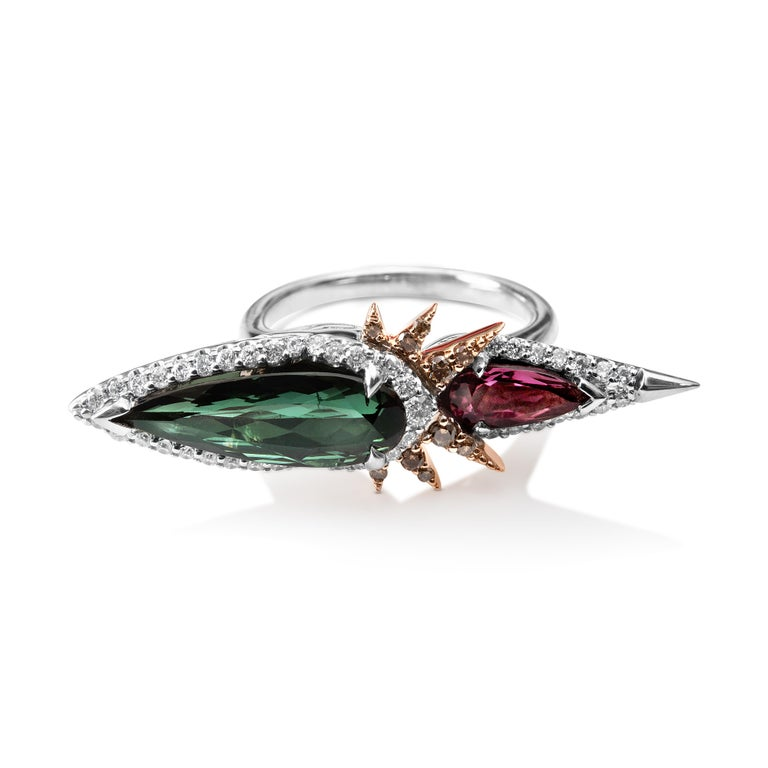 Harlin Jones Pink and Green Tourmaline and Cognac Diamond Ring In New Condition For Sale In Brooklyn, NY