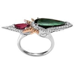 Harlin Jones Pink and Green Tourmaline and Cognac Diamond Ring