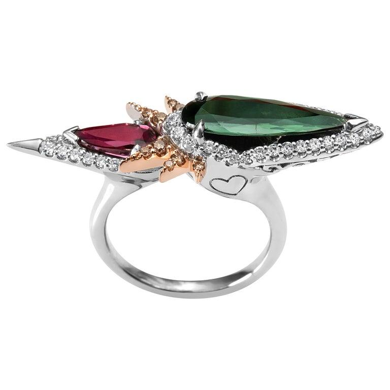 Harlin Jones Pink and Green Tourmaline and Cognac Diamond Ring For Sale