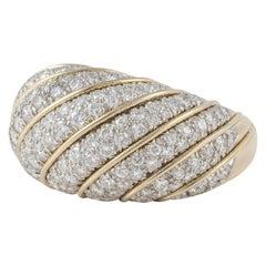 18 Karat Platinum Diamond Dome Ring