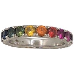 18 Karat Rainbow Sapphire Eternity Band